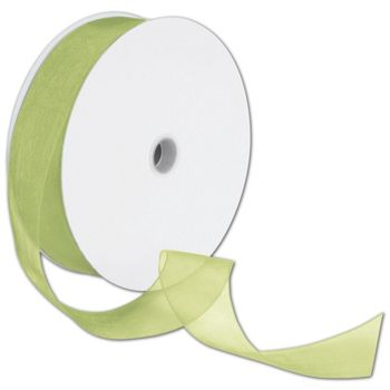 Sheer Organdy Lemongrass Ribbon, 1 1/2