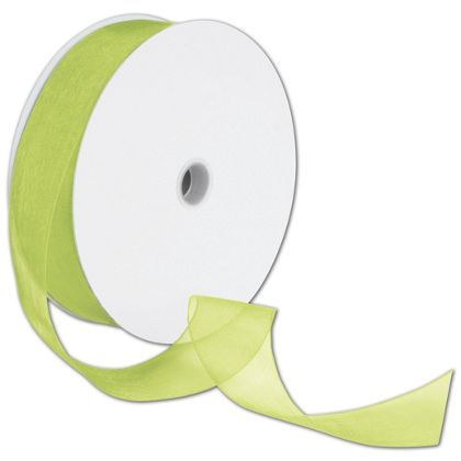 "Sheer Organdy Kiwi Ribbon, 1 1/2"" x 100 Yds"