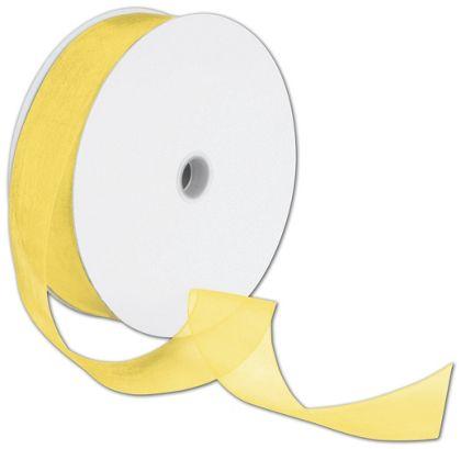 "Sheer Organdy Yellow Ribbon, 1 1/2"" x 100 Yds"