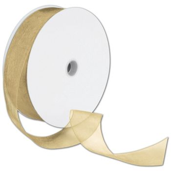 Sheer Organdy Gold Ribbon, 1 1/2