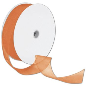 Sheer Organdy Orange Ribbon, 1 1/2