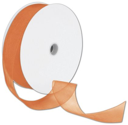"Sheer Organdy Orange Ribbon, 1 1/2"" x 100 Yds"