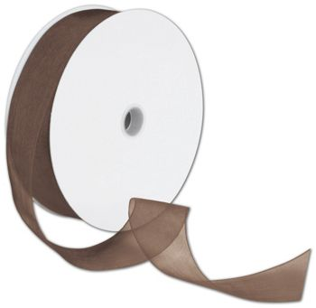 Sheer Organdy Chocolate Ribbon, 1 1/2