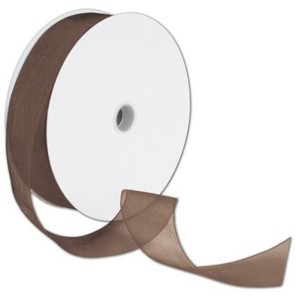 "Sheer Organdy Chocolate Ribbon, 1 1/2"" x 100 Yds"