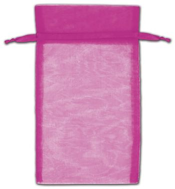 Hot Pink Organza Bags, 5 x 7