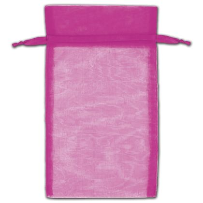 "Hot Pink Organza Bags, 5 x 7"""