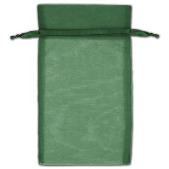 Hunter Green Organza Bags, 5 x 7""