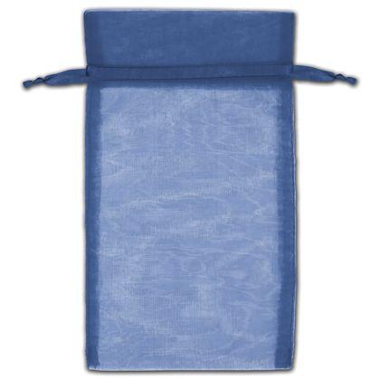 "Navy Organza Bags, 5 x 7"""