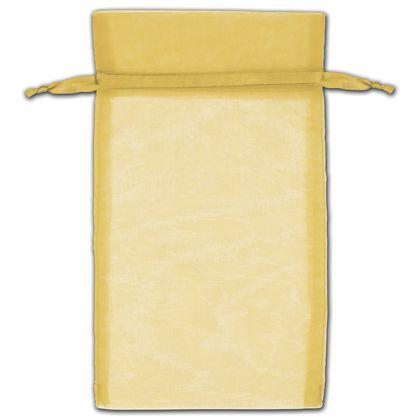 "Gold Organza Bags, 5 x 7"""