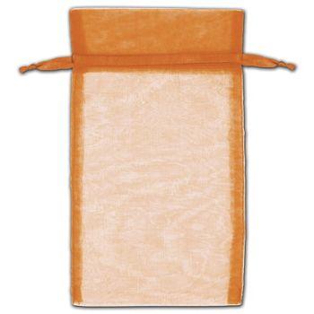 Orange Organza Bags, 5 x 7