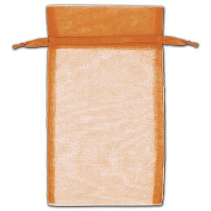 "Orange Organza Bags, 5 x 7"""