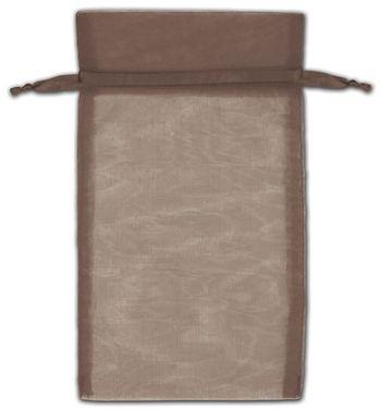 Dark Brown Organza Bags, 5 x 7