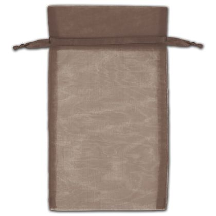 "Dark Brown Organza Bags, 5 x 7"""