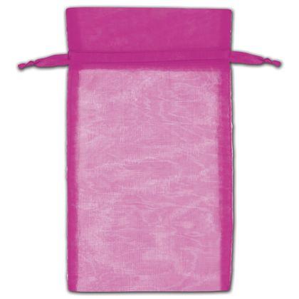 "Hot Pink Organza Bags, 6 x 10"""