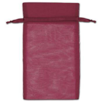 Burgundy Organza Bags, 6 x 10
