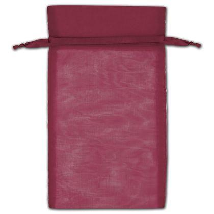 "Burgundy Organza Bags, 6 x 10"""