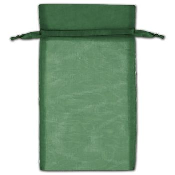 Hunter Green Organza Bags, 6 x 10