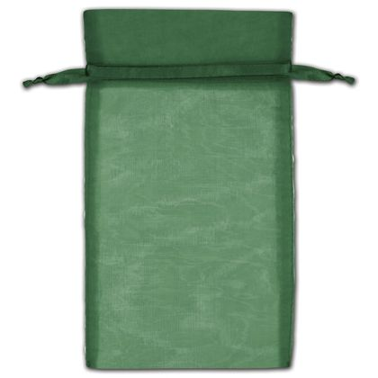 Hunter Green Organza Bags, 6 x 10""