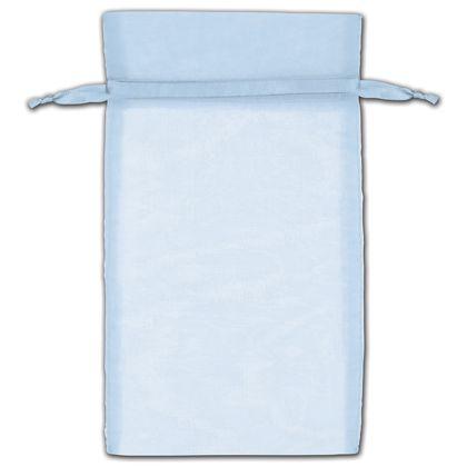 "Light Blue Organza Bags, 6 x 10"""