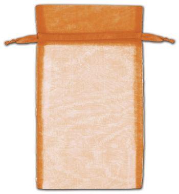 Orange Organza Bags, 6 x 10