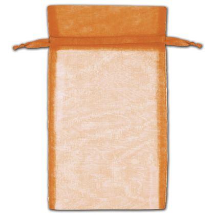 "Orange Organza Bags, 6 x 10"""