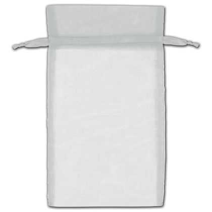 "Silver Organza Bags, 6 x 10"""