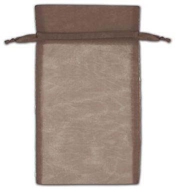 Dark Brown Organza Bags, 6 x 10