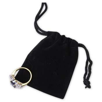 Black Velveteen Pouches, 2 x 2 1/2