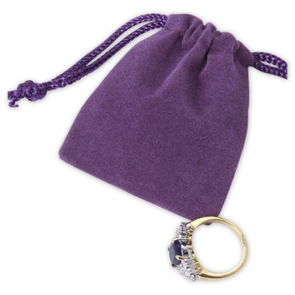 Purple Velveteen Pouches, 2 x 2 1/2