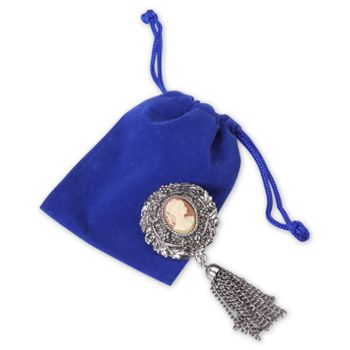 Royal Blue Velveteen Pouches, 3 x 4
