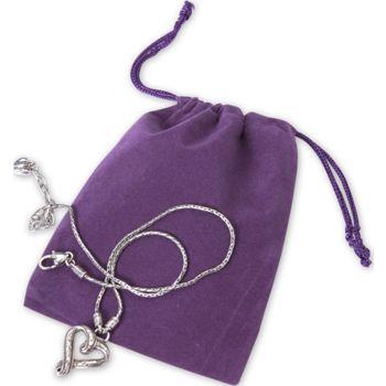 Purple Velveteen Pouches, 4 x 5 1/2