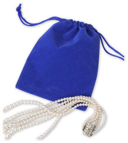 "Royal Blue Velveteen Pouches, 4 x 5 1/2"""