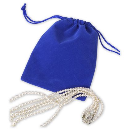 Royal Blue Velveteen Pouches, 4 x 5 1/2