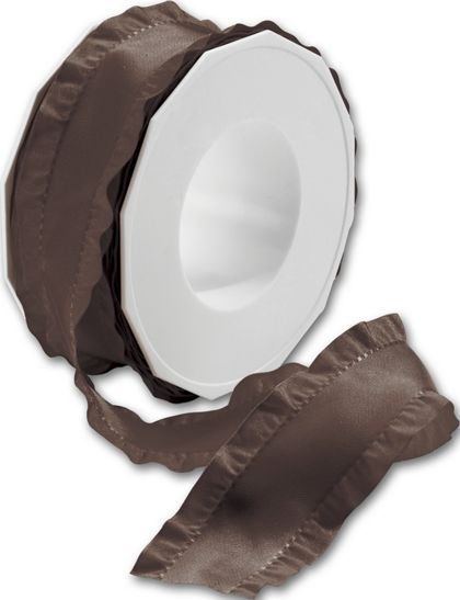 "Double Ruffle Chocolate Ribbon, 1 1/2"" x 16 1/2 Yds"