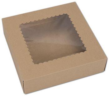Kraft Windowed Bakery Boxes, 1 Piece, 9 x 9 x 2 1/2