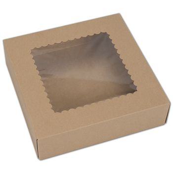 Kraft Windowed Bakery Boxes, 1 Piece, 9 x 9 x 2 1/2