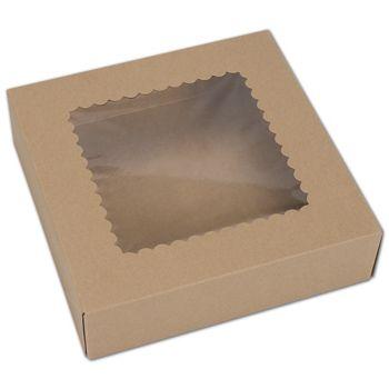 "Kraft Windowed Bakery Boxes, 1 Piece, 9 x 9 x 2 1/2"""