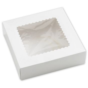 White Windowed Bakery Boxes, 1 Piece, 9 x 9 x 2 1/2