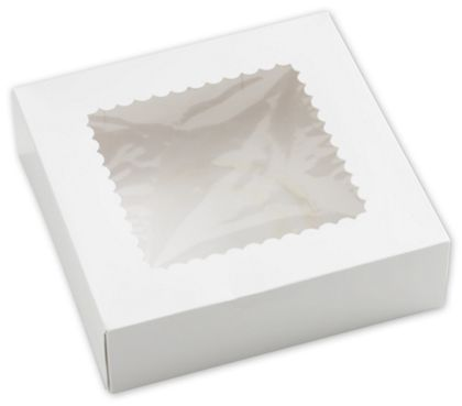 White Windowed Bakery Boxes, 1 Piece, 9 x 9 x 2 1/2""