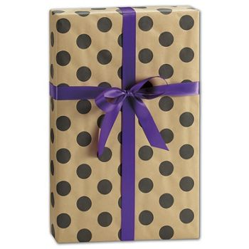 Black Dots on Kraft Gift Wrap, 24
