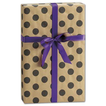 "Black Dots on Kraft Gift Wrap, 24"" x 417'"
