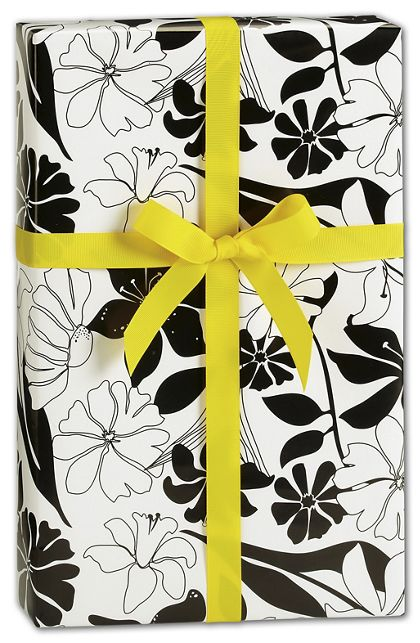 """Black and White Lillies Gift Wrap, 24"""" x 417'"""
