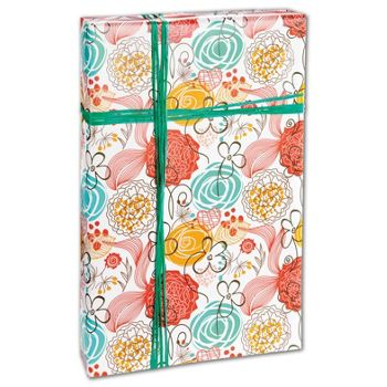 Retro Floral White Gift Wrap, 24
