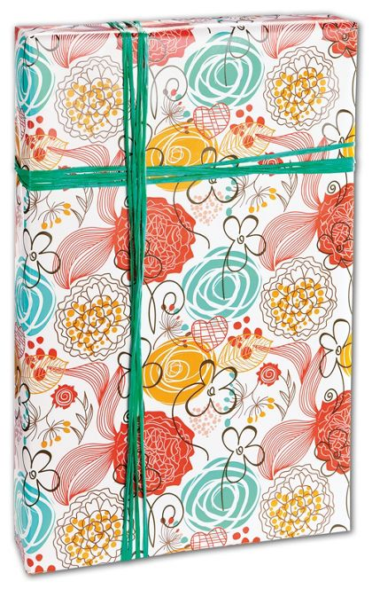 "Retro Floral White Gift Wrap, 24"" x 417'"