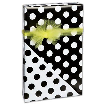 "Black Dots on White Reversible Gift Wrap, 24"" x 417'"