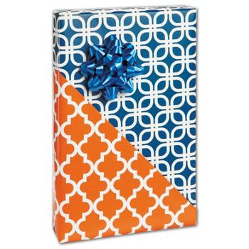 Orange Tile Reversible Gift Wrap, 24