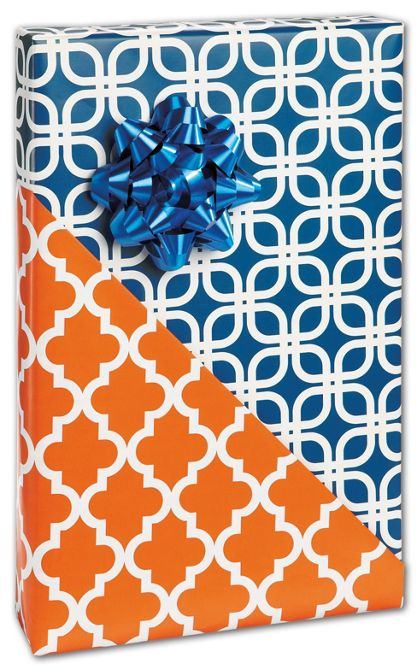 "Orange Tile Reversible Gift Wrap, 24"" x 417'"