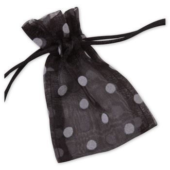 Black Polka Dot Organdy Bags, 3 x 4