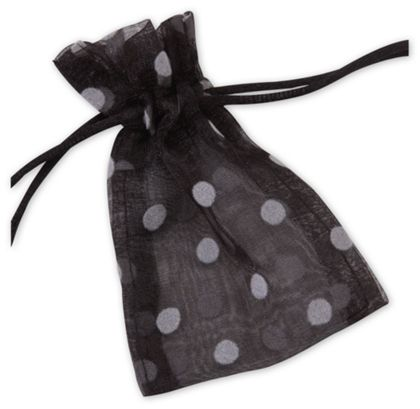 Black Polka Dot Organdy Bags, 3 x 4""