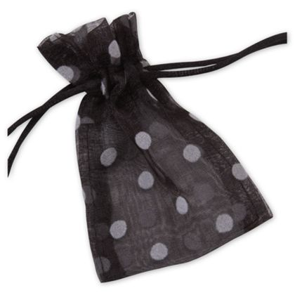 Black Polka Dot Organdy Bags, 3 x 4